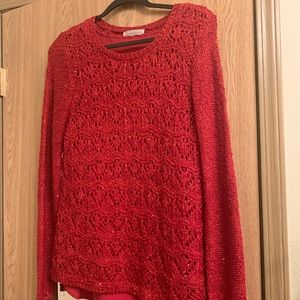 Red knit sweater with matching liner tank